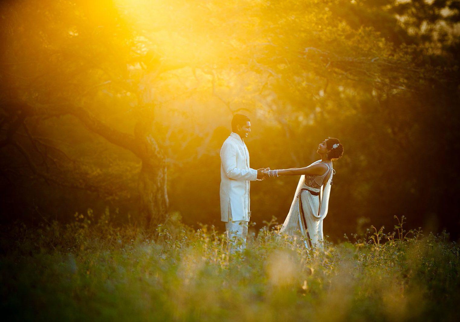 Hindu Newly Weds at sunset Dancing